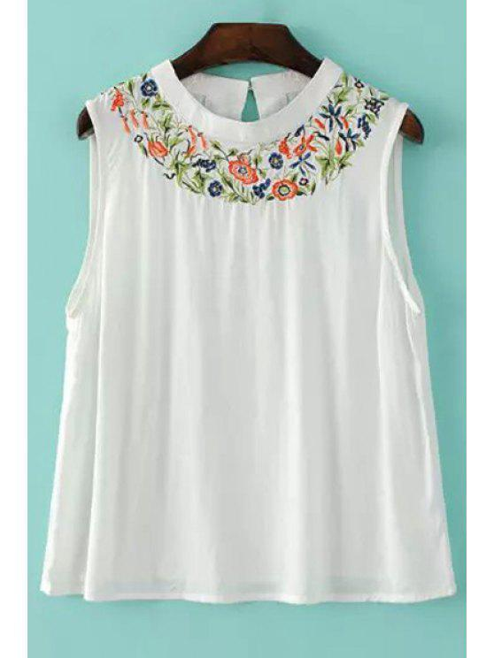 women's Embroidered White Tank Top - WHITE S