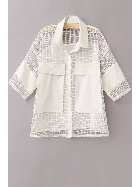 unique Mesh Flat Collar 3/4 Sleeve Solid Color Shirt - WHITE L