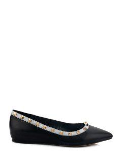 Pointed Toe Black Rivets Flat Shoes - Black 39
