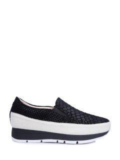 Embossing Elastic Solid Color Platform Shoes - Black 38