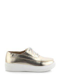 Metallic Color Lace-Up Platform Shoes - Golden 39