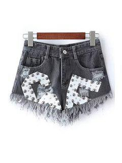 Rivet Design Frayed Denim Shorts - Black Xl
