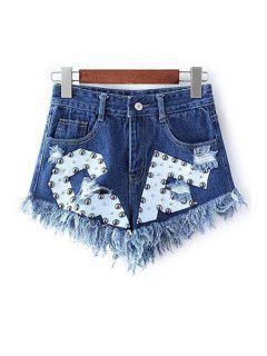 Rivet Design Frayed Denim Shorts - Deep Blue Xl