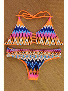 Argyle Print Halterneck Reversible Bikini Set - Orange L