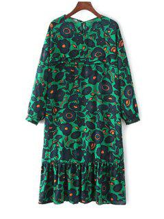 Long Sleeve Floral Print Tunic Dress - Green