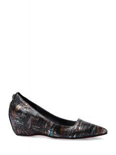 Pointed Toe Rivets Print Wedge Shoes - Black 39