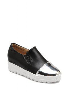 Color Block Elastic Round Toe Platform Shoes - Black 36