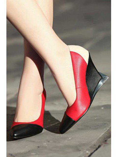 fancy Pointed Toe Color Block Wedge Shoes -   Mobile