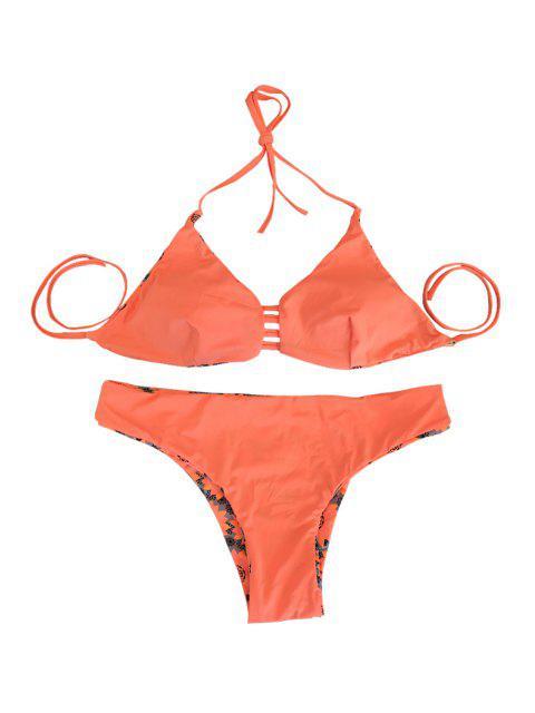 womens Sunflower Print Halter Orange Reversible Bikini Set - ORANGEPINK L Mobile