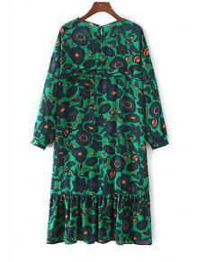 Buy Long Sleeve Floral Print Tunic Dress - GREEN ONE SIZE(FIT SIZE XS TO M)