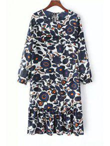 Buy Long Sleeve Floral Print Tunic Dress - WHITE ONE SIZE(FIT SIZE XS TO M)