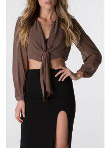 Solid Color Perspective V Neck Long Sleeve Crop Top - Khaki Xl