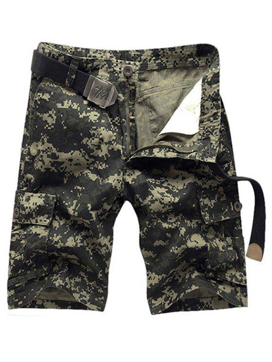 fashion Military Style Straight Leg Multi-Pocket Zipper Fly Camo Cargo Shorts For Men - ARMY GREEN 33