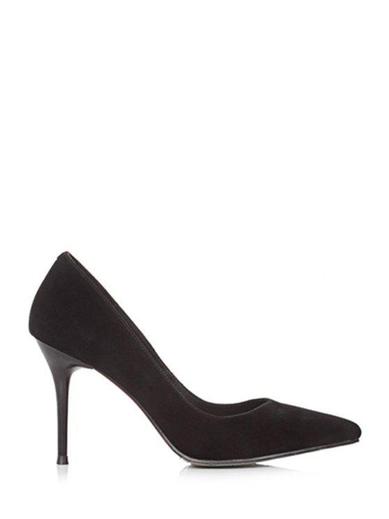 women's Solid Color Pointed Toe Stiletto Heel Pumps - BLACK 39