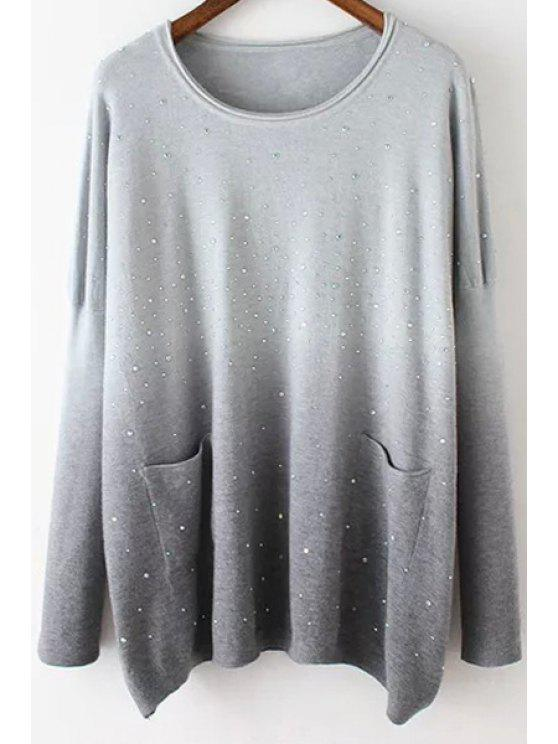 lady Retro Ombre Round Neck Long Sleeve Sweater - GRAY ONE SIZE(FIT SIZE XS TO M)