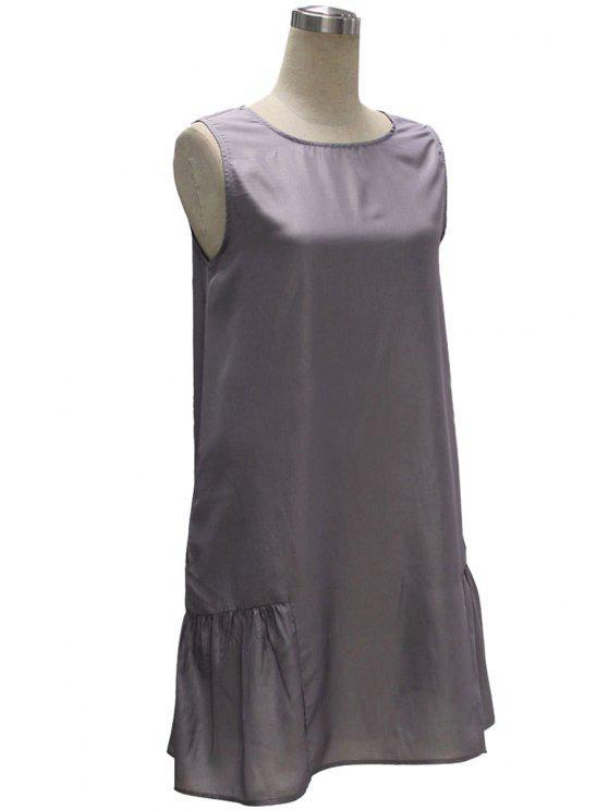 trendy Gray Loose Pocket V Neck Sleeveless Dress - GRAY S
