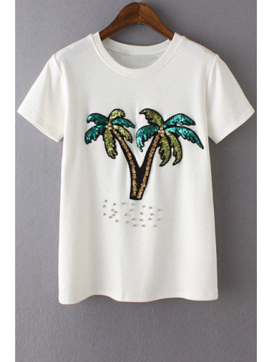 sale Sequined Coconut Palm T-Shirt - WHITE ONE SIZE(FIT SIZE XS TO M)