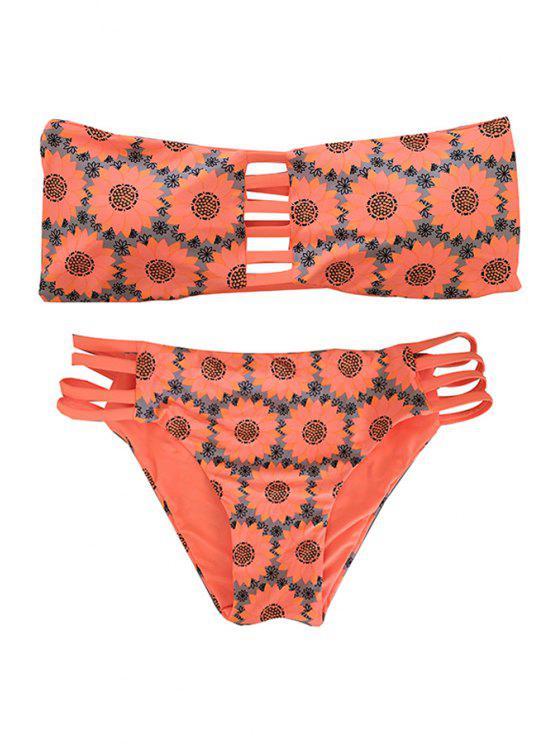 ladies Sunflower Print Strapless Reversible Bikini Set - ORANGEPINK M