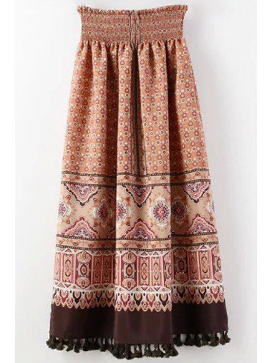 hot Retro Tassels High-Waist Chiffon Skirt - RED S