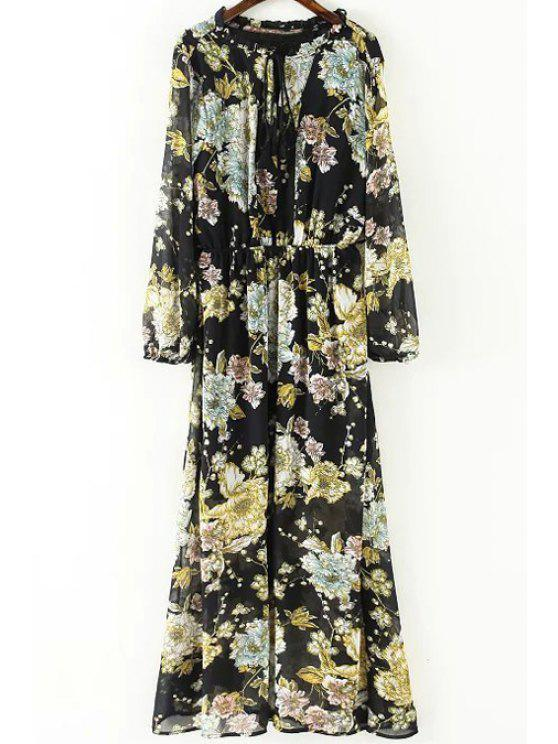 ceb85c77791b3 34% OFF] 2019 Fringe Floral Print Round Neck Long Sleeve Dress In ...