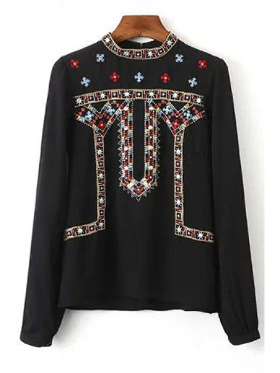 Retro Embroidery Stand Neck Long Sleeve Blouse - BLACK S