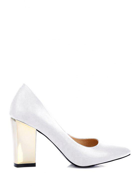 39a6b3d0e36 37% OFF  2019 Pointed Toe Metal Chunky Heel Pumps In WHITE