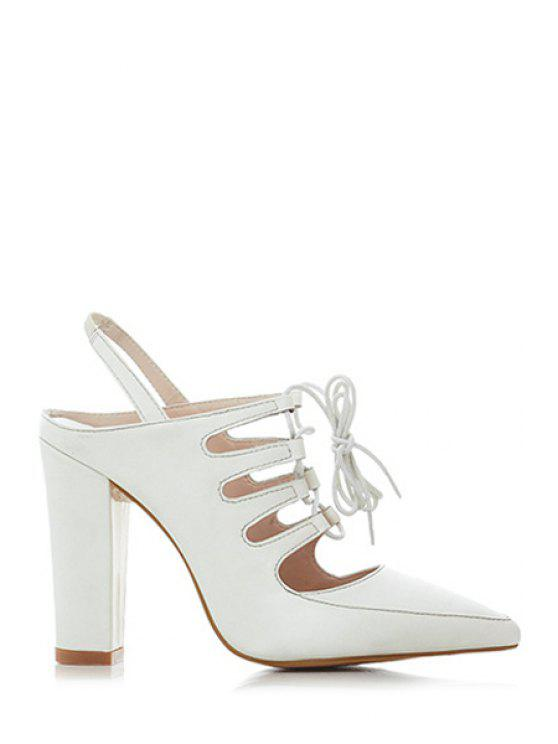 affordable Hollow Out Slingback Lace-Up Sandals - MILK WHITE 38