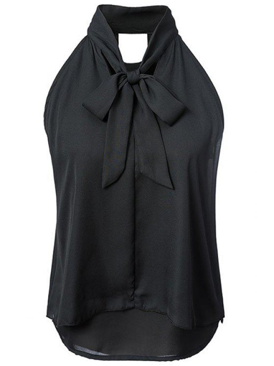 sale Double-Layered Bow Collar Sleeveless Shirt - BLACK M