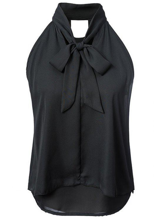 De doble capa sin mangas de cuello del arco de la camisa - Negro M