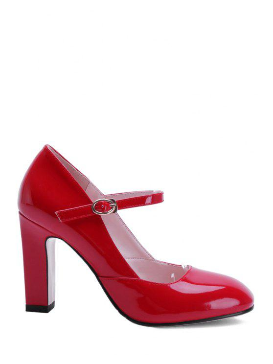 fancy Buckle Ankle-Wrap Chunky Heel Pumps - RED 37