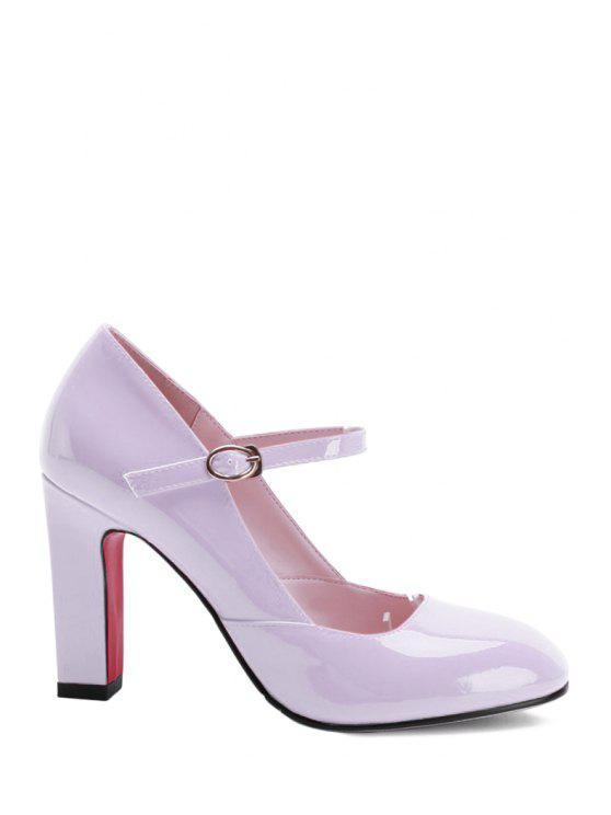 hot Buckle Ankle-Wrap Chunky Heel Pumps - PINK 36