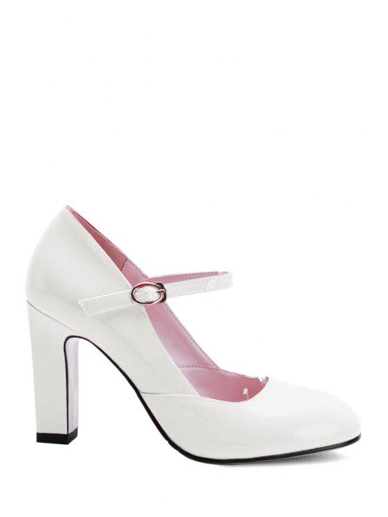 best Buckle Ankle-Wrap Chunky Heel Pumps - WHITE 37