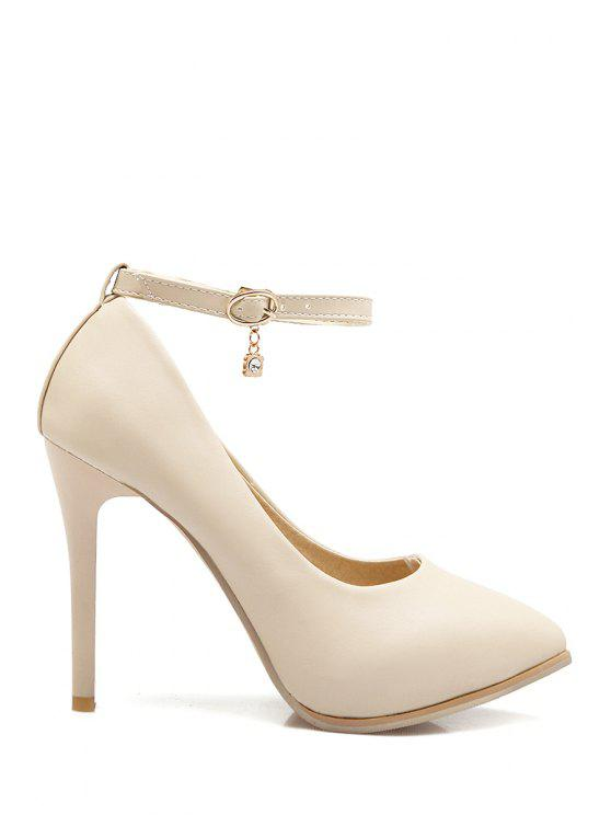 shops Pendant Ankle Strap Stiletto Heel Pumps - OFF-WHITE 36