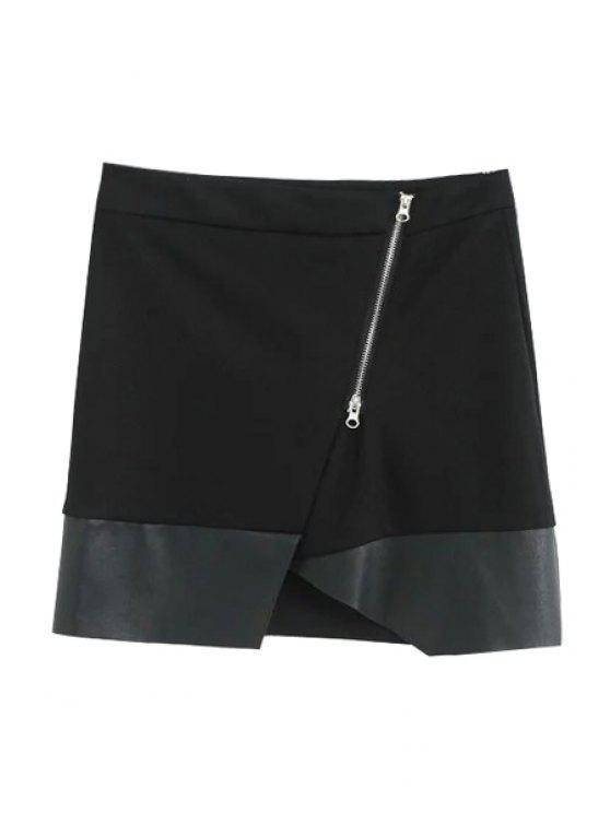 affordable Asymmetric PU Leather Spliced Side Zipper Skirt - BLACK M