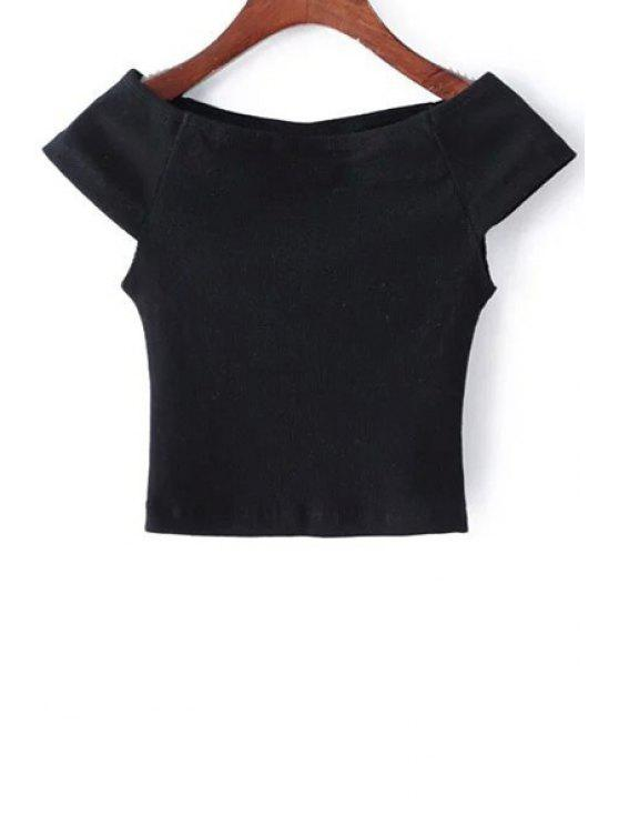 lady Thread Solid Color Boat Neck Short Sleeve T-Shirt - BLACK ONE SIZE(FIT SIZE XS TO M)