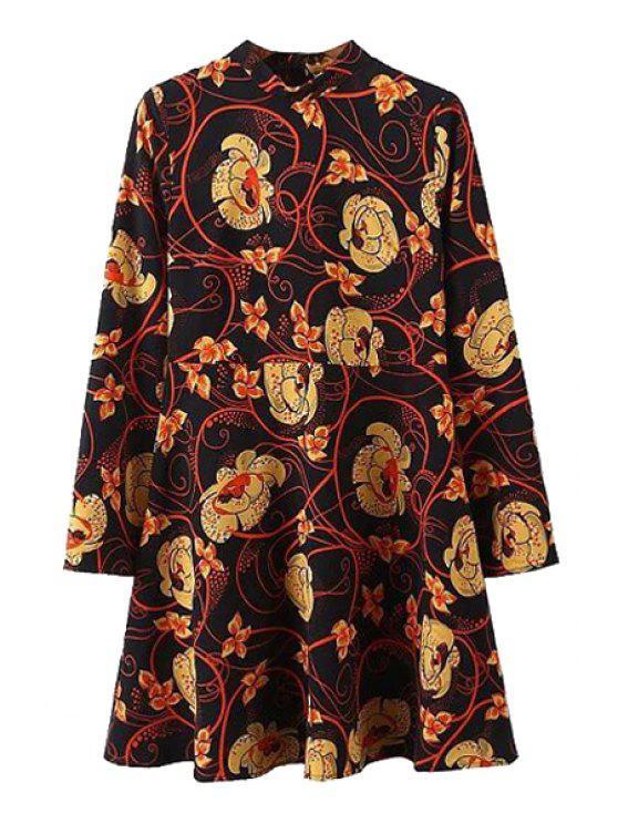 lady Floral Print Stand Collar Long Sleeve Dress - BLACK M