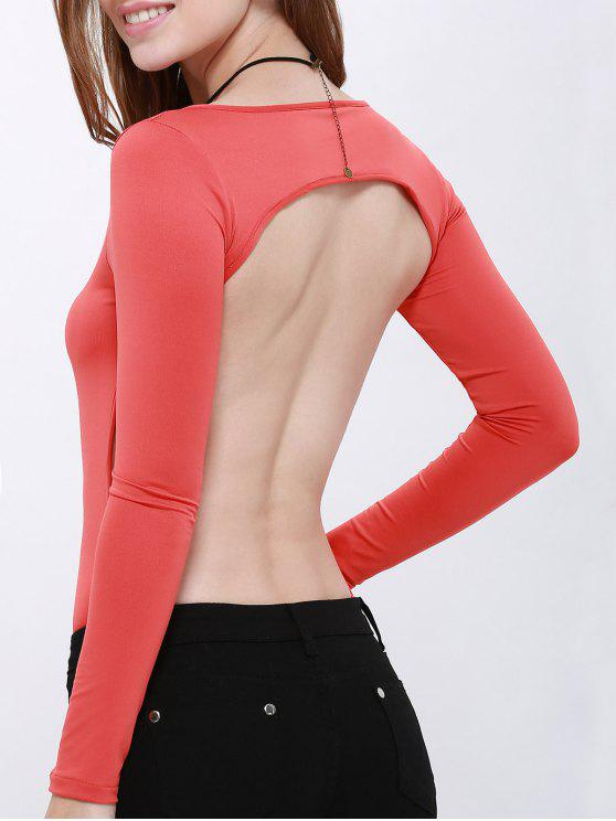 Solid Color Hollow Back Bodysuit - Rot L