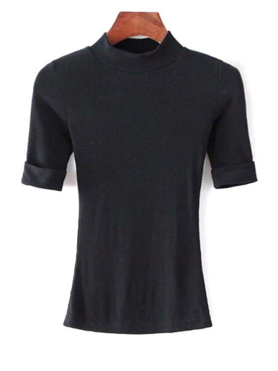 Hilo de color sólido cuello redondo manga corta de la camiseta - Negro M