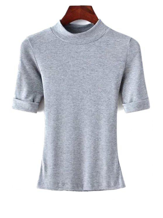 fancy Thread Solid Color Round Neck Short Sleeve T-Shirt - GRAY M