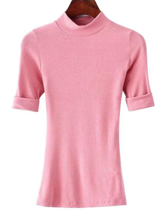 Hilo de color sólido cuello redondo manga corta de la camiseta - Rosa M