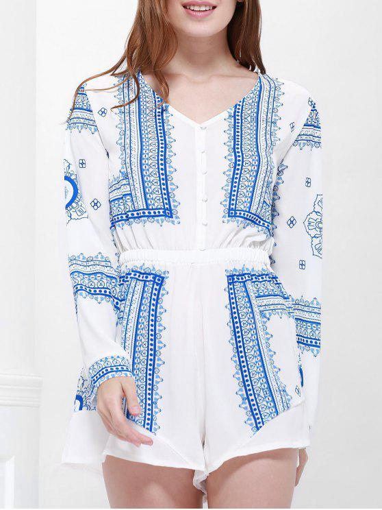 chic Buttoned Long Sleeve Printed Playsuit - BLUE AND WHITE S