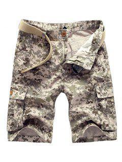 Estilo Militar Pierna Recta Multi-bolsillo Con Cremallera Camo Cargo Pantalones Cortos Para Hombres - Caqui 29