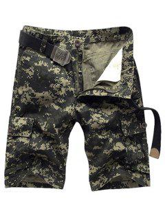 Military Style Straight Leg Multi-Pocket Zipper Fly Camo Cargo Shorts For Men - Army Green 33