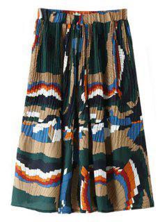 Colorful Pleated Midi Skirt - Blue