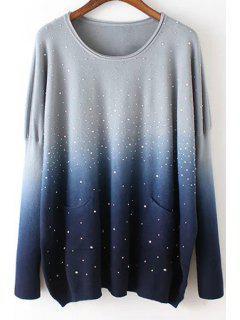 Retro Ombre Round Neck Long Sleeve Sweater - Purplish Blue