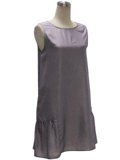 Gray Loose Pocket V Neck Sleeveless Dress - Gray L