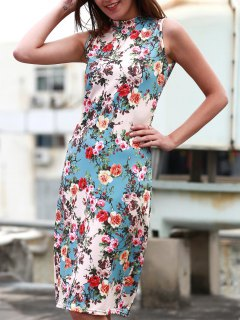 Tiny Flower Print Sleeveless Stand Collar Slimming Dress - Light Blue Xl