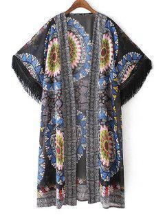 Printed Short Sleeve Tassels Kimono Blouse - L