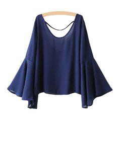 Blue Loose Scoop Collar Flare Sleeve Chiffon Blouse - Blue L
