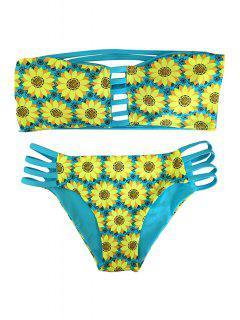 Girasol De Impresión Sin Tirantes Del Bikini Conjunto Reversible - Lago Azul L